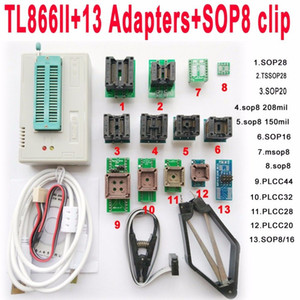V8.11 TL866II tl866 ii Artı usb programcı + 13 adaptör soket + SOP8 klip 1.8 V nand flaş 24 93 25 mcu Bios EPROM AVR programı freeshipping