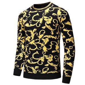 Sonbahar kazak erkekler için rahat kazak moda uzun kollu erkek tasarımcı hoodies çiçek baskı o boyun kazak erkekler