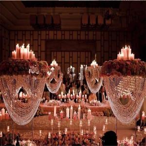 Блестящая Овальный Tall акриловые Кристалл Именная Centerpiece / Столп цветок стенд / торт стенд для свадьбы Свадебные украшения /