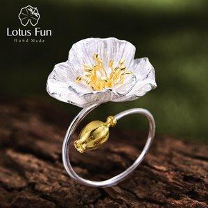 Lotus Fun reale 925 Sterlingsilber-justierbarer Ring Handgemachte Designer edlen Schmuck blühender Mohn Blumen-Ringe für Frauen Bijoux CJ191210