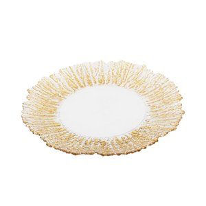 Silver Gold Bark Edge Charger Plate Flower Shape Glass Charger Plate Floral Decorative Plate for Wedding Party Anniversary