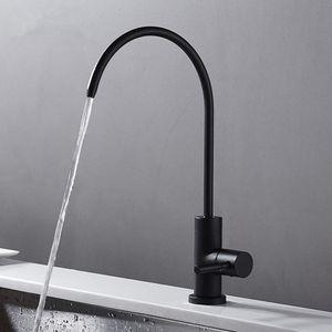 Robinet d'eau potable en acier inoxydable noir mat Robinet de boisson sans plomb Système de filtration d'eau potable Tube de 1/4 po