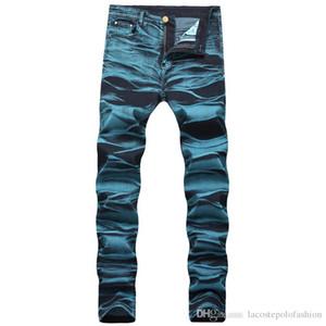 Jeans con cerniera blu lavato con cerniera a forma di uomo, jeans a vita alta, pantaloni lunghi da uomo