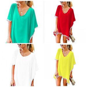 Vestido corto borlas color sólido bolas blancas gasa Beach Bikini cubierta Ups verano suelto para mujer Home Wear 16 mw E1