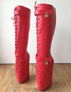 Red Matt Boots Women Long Ballet Wedge Lace Up Fetish High Heel Shoes Womens Winter Fashion 2019 Size 15 Heels European 11 Size