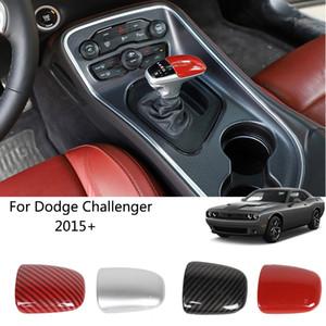 ABS Schaltknauf Abdeckung Trim Zubehör Red Carbon-Faser für Dodge Challenger 2015 UP Car Interior Zubehör