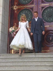 Vestidos de casamento do laço do comprimento do chá do vintage com mangas curtas Uma linha Vestido de Novacustom fez vestido nupcial do casamento