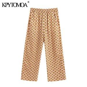KPYTOMOA Femmes 2020 Fashion Chic Pantalon imprimé géométrique Vintage haute taille élastique poches latérales femmes cheville Pantalons Pantalones
