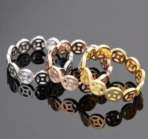 Encanto Copper Coin Pattern Três Styles Mulheres rosa banhado a ouro de aço inoxidável jóias anéis frete grátis atacado