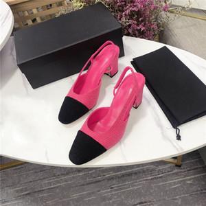 Les dernières femmes sandales tweed été patchwork chunky sandales tête carrée talon vident dos petites sandales de vent de parfum chaussures de soirée de mariage