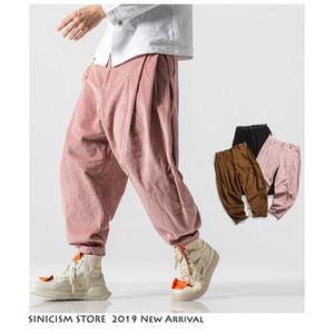 Sinicism Store Men Corduroy Harem Pants 2020 Autumn Chinese Style Pants Mens Solid Black Sweatpants Male Loose Trousers Oversize CX200605