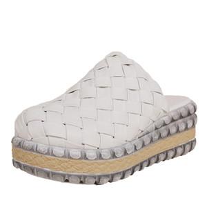 VALLU primavera y verano 2020 original, nueva plataforma impermeable sandalias de Baotou inferiores tejido gruesos zapatos de cuero