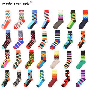 Moda Socmark Marka Mutlu Çorap Erkekler Klasik Geometri Çizgili Komik Çorap Erkekler Kadınlar 2019 Moda Renkli Pamuk Uzun Çift