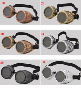 6styles Punk do vapor Goggles Gothic Retro Man Vidros E Mulheres Outdoor Caminhadas úteis ciclismo ao ar livre óculos à prova de água portáteis FFA3165