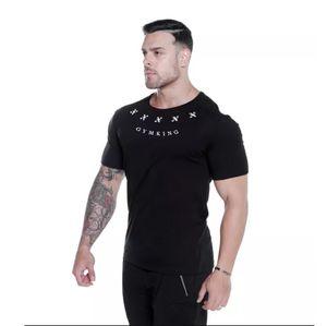 Erkek Fitness Spor T-shirt Eğlence Pamuk Elastik Kısa Kollu Avrupa ve Amerika'da Nefes Basketbol Baskı Koşu spor salonu fshirt