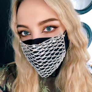 De lujo Rhinestone de Bling Bling Jewlery Cara Máscara de joyería de las mujeres elástico hueco Cuerpo de la cara del club de noche decorativo joyería