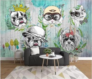 3d wallpaper custom photo mural Hand painted animal cat and dog cartoon background wall home decor 3d wall murals wallpaper for living room