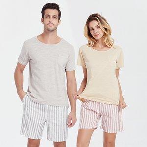 Pajamas women's summer pure cotton simple home clothes set couple pajamas home clothes set