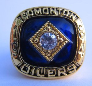 1984 Edmonton Oilers Stanley Cup Team Champion Championship Ring With Wooden Display Box Souvenir Men Fan Gift Wholesale Drop Shipping