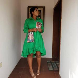 2019 лета Женщины нагрудной половины рукав печать шарики блузка вскользь свободная рубашка платье женщины способа рубашки топов партии Мини платье Streetwear