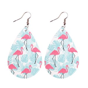 Печать Palm Tree Flamingo Teardrop Pu Leather мотаться серьги для женщин Water Drop 2020 весна лето пляж ювелирные аксессуары