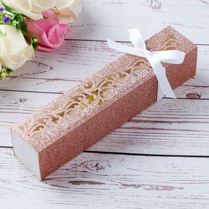 Nouvelle arrivée Rose d'or Glitter Laser Cut cadeau de mariage Boîtes avec des rubans pour soirée de mariage chocolat Bonbons Cartes d'invitation Décoration