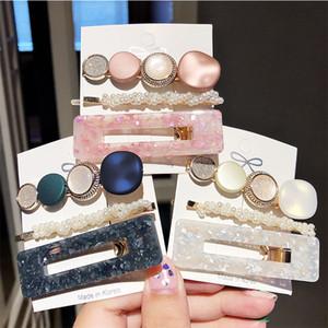 1SET = 3 UNIDS Moda Acetato Geométrico Colorido Playos Accesorios para el cabello Para Mujeres Elegantes Horquillas Parrillas Horitores
