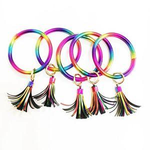 PU Leder Regenbogen Armband Keychain Bunter Schlüsselring Kreis Quaste Wristlet Frauen Mädchen Regenbogen Armband Keychain Geschenke HHA756
