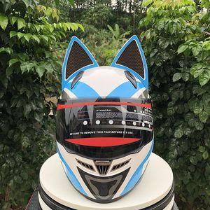 Cat Ears Automobile Race antiappannamento Moto con casco Casco personalità Design Con Corno Capacete Casco
