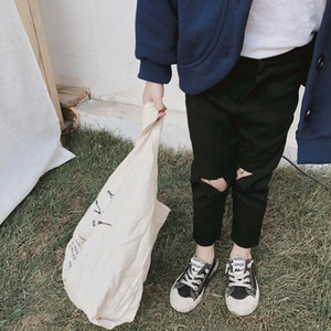 Boys Girls Ripped Jeans Spring Summer 2019 Trend black color Denim Trousers For Kids Children Distrressed Hole Pants