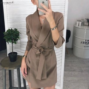 Women Casual Dresses Casual Sashes A Line Mini Dress Office Ladies Turn Down Collar Dresses 2020 Autumn Winter New Fashion Elegant Party