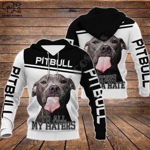 Unisexe pitbull à ceux qui haïssent limitée 3d chien imprimé sweat à capuche zippé manches longues Survêtement pull-over veste Sweat G12