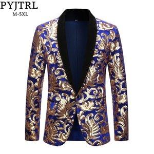 PYJTRL Erkek Artı boyutu 5XL Moda Şal Yaka Çiçek Sequins Kraliyet Mavi Kadife Slim Fit Blazer Sahne Singer Düğün Suit JacketMX190929