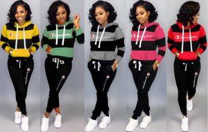 Womens Treino spotswear duas peças set roupas fatos de calça de jogging Esportes mangas compridas suéter Clube vestir klw2365 muito quente