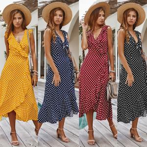 섹시한 깊은 V 넥 Pollka 도트 민소매 프릴 롱 드레스 2020 여름 여성의 새로운 캐주얼 해변 휴가 우아한 비대칭 드레스