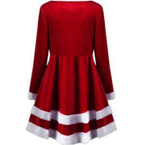 European and American women round collar long sleeve Christmas velvet belt patchwork from the long skirt