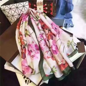 Écharpe de la soie de luxe femmes designer foulard souple peinture fleur soie châles pashmina dames wraps écharpes foulards foulards nouveau