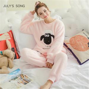 Canción del mes de julio de las mujeres pijama 2019 Otoño Invierno pijamas gruesos franela de dibujos animados calientes mujer dormir lindo Animal hembra Homewear SH190817