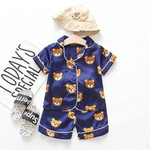 Kid pigiama bambino dei bambini coprono ragazza vestito a due pezzi per l'abbigliamento usura casa estiva a maniche corte vestito bambini bambino simpatico orso dei cartoni animati vestaglia di stampa