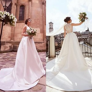 Modest Bateau Neck Covered Button Wedding Dresses Satin Sweep Train Lace Appliques Country Garden A Line Plus Size Wedding Bridal Gowns
