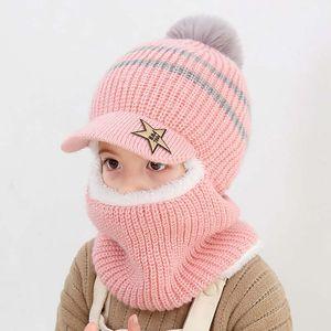 2019 lindo de invierno de los niños sombrero hecho anillo bufanda cabritos de los sistemas de calentamiento Gorros de revestimiento de bebé más gruesa de terciopelo suave Cap Niños Niñas Fleece