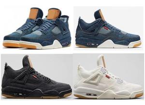 Alta qualità levis x jordan 4 Denim Travis Blu Nero Bianco Scarpe da basket in jeans Uomo 4s Blue Jeans Sport Sneakers con formato Box us7-13