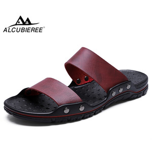 ALCUBIEREE Summer Breathable Peep Toe Sandals Footwear for Man Split Leather Slide Shoe Mens Casual Slip-on Slippers Beach Shoes
