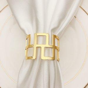 Servilletero hueco de 4,5 cm Plata Oro Sin Papel de seda de impresión hebilla de la decoración del hogar cocina de acero inoxidable Tabla Servilletero