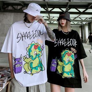 Marque populaire Origional Résumé Cartoon Graffiti Couples Impression à manches courtes T-shirt hommes et femmes BF Wind National Mode Hip Hop moitié