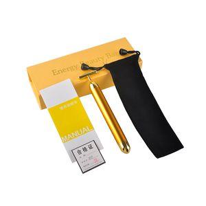 Pulso de energía Beauty Bar oro 24K reafirmante facial masajeador de rodillo masajeador Derma Cuidado de la Piel Tratamiento de arrugas de la cara Massager con la caja 0609005