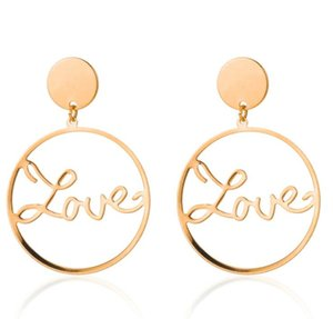 2019 Spring Collection Fashion Punk Personality Round Spiral Exaggerated Circle LOVE Gear Earrings for Women free shipping