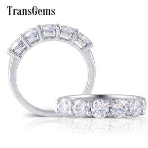 TransGems platine plaqué argent sterling 1.25CTW 4MM GH Couleur Moissanite Half Eternity Wedding Band pour les femmes anniversaire S200110