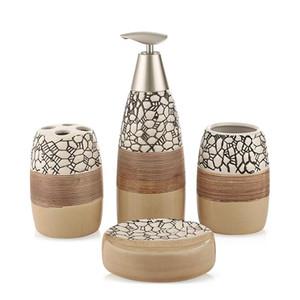100% accesorios de baño de cerámica de 4 piezas Set de baño Set de Regalo Cepillo de dientes titular de ajuste Tumbler Jabonera incluyendo dispensador de jabón