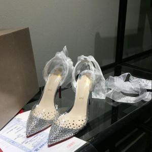 La venta caliente-2019 venta caliente señoras de la alta calidad de tacón zapatos de vestir de perforación cinta transparente, señoras atractivas de la manera sandalias de los zapatos del banquete de boda